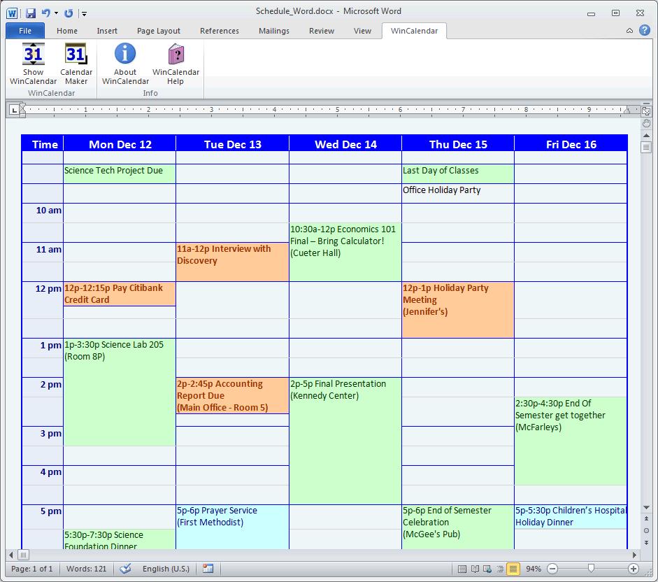 Calendar Creator Template